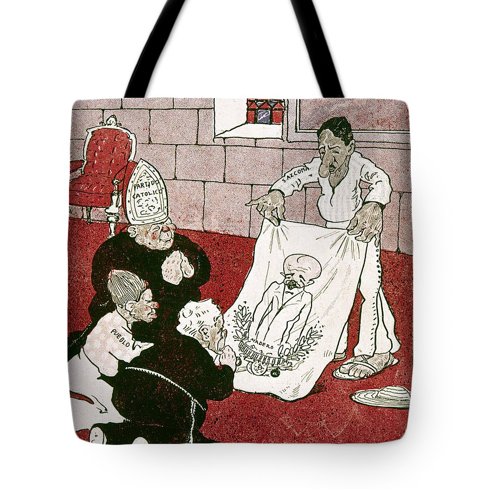 1910s Tote Bag featuring the painting Mexico: Political Cartoon by Granger