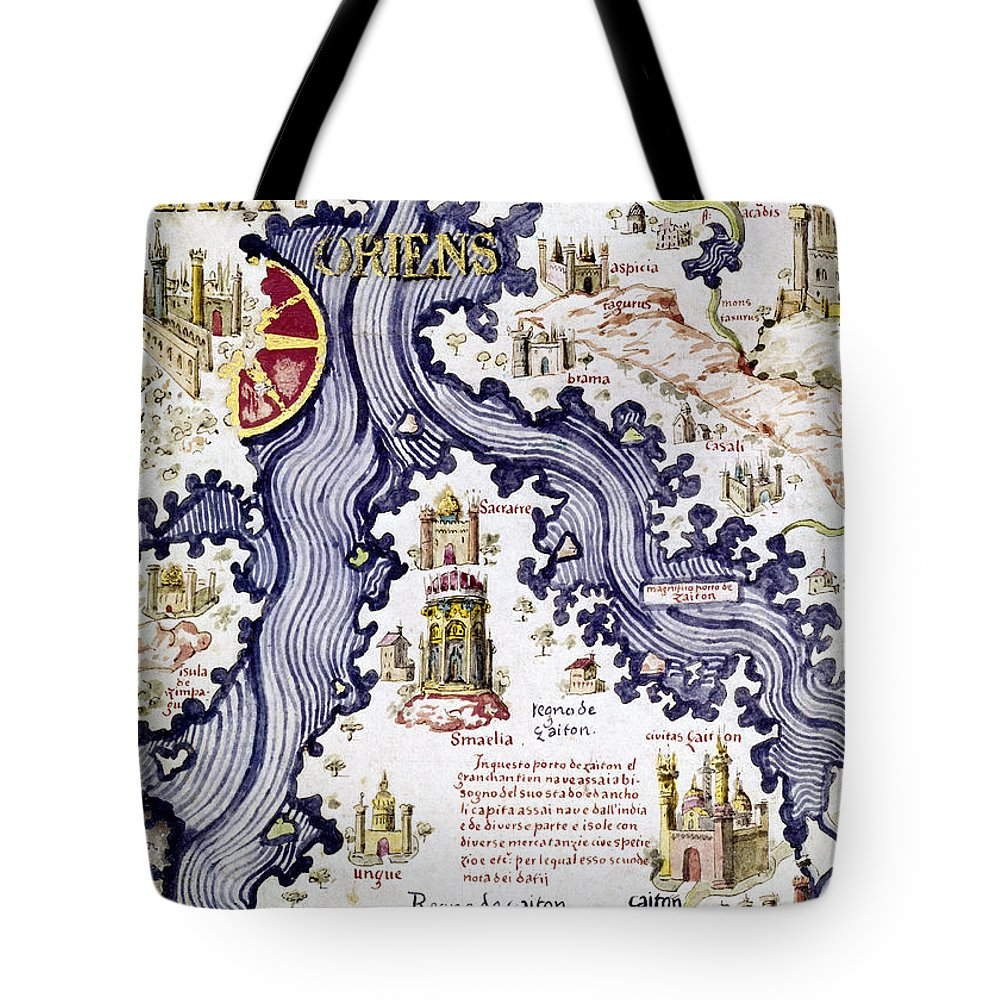 15th Century Tote Bag featuring the painting Marco Polo (1254-1324) by Granger