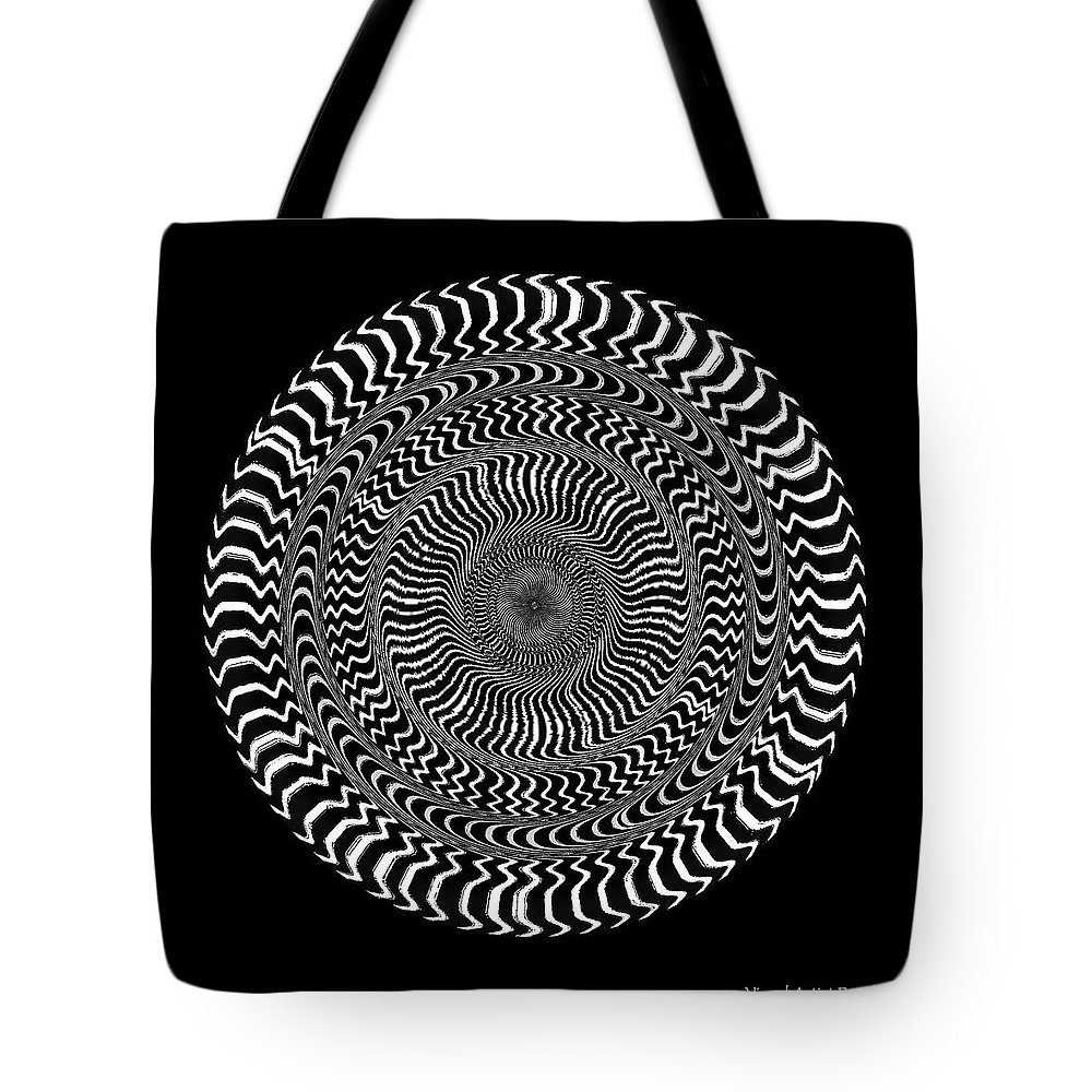 B&w Tote Bag featuring the digital art #0110201511 by Visual Artist Frank Bonilla