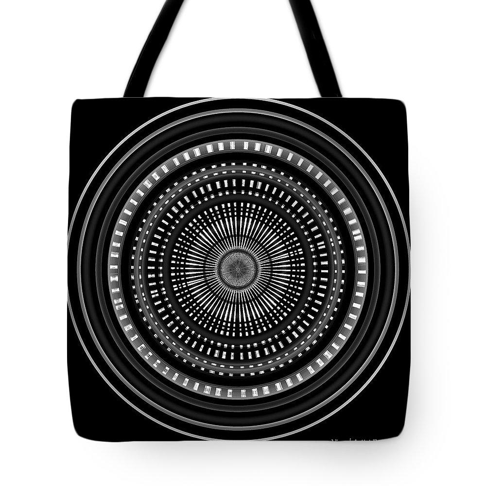B&w Tote Bag featuring the digital art #011020153 by Visual Artist Frank Bonilla