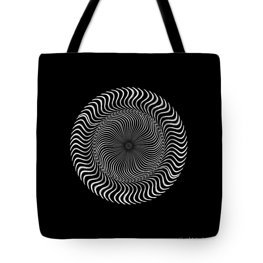 B&w Tote Bag featuring the digital art #011020159 by Visual Artist Frank Bonilla