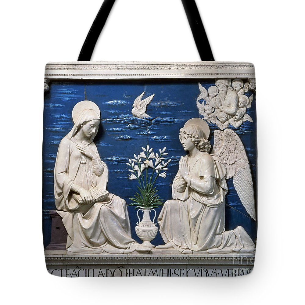 15th Century Tote Bag featuring the painting Della Robbia: Annunciation by Granger