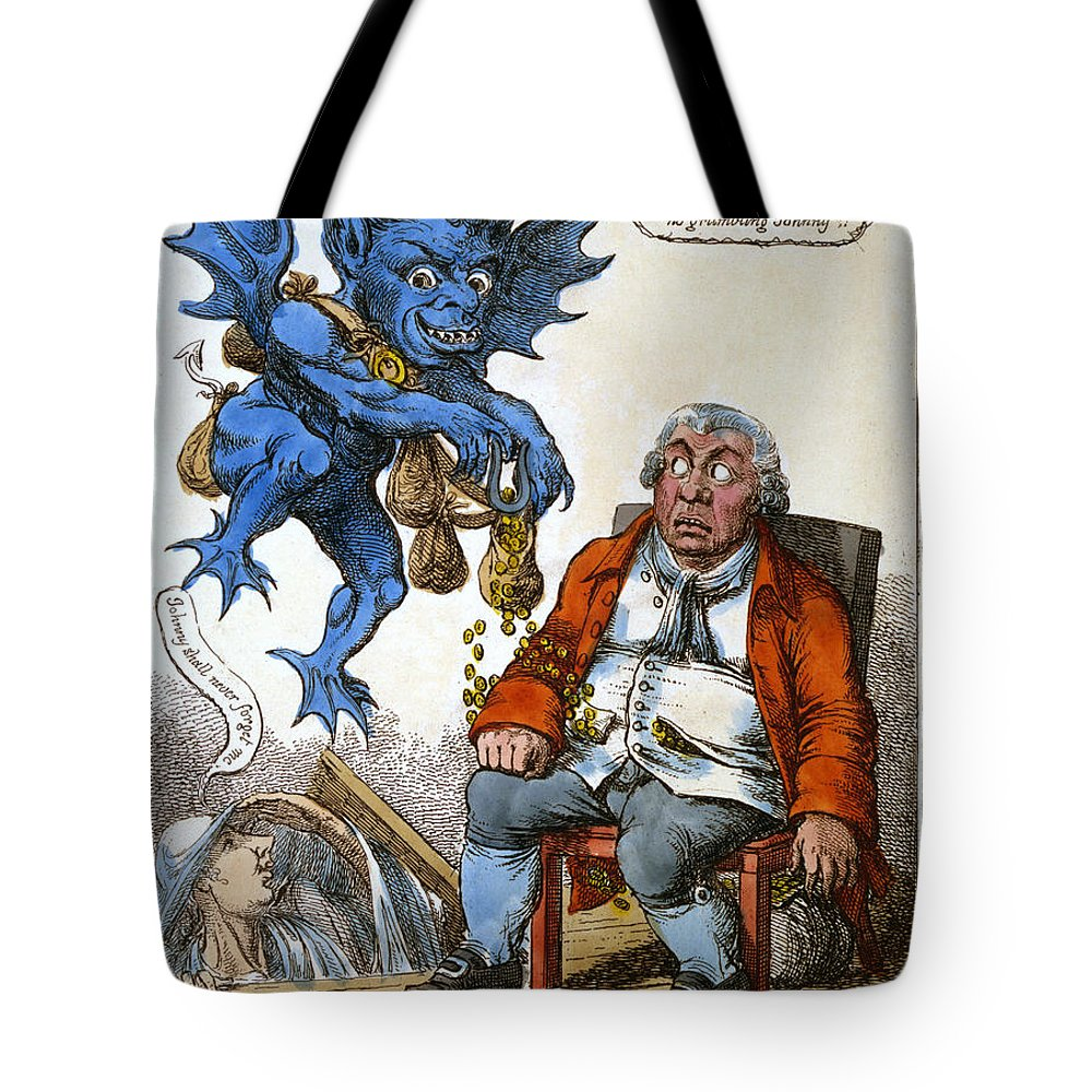 1814 Tote Bag featuring the painting Cartoon: John Bull, C1814 by Granger