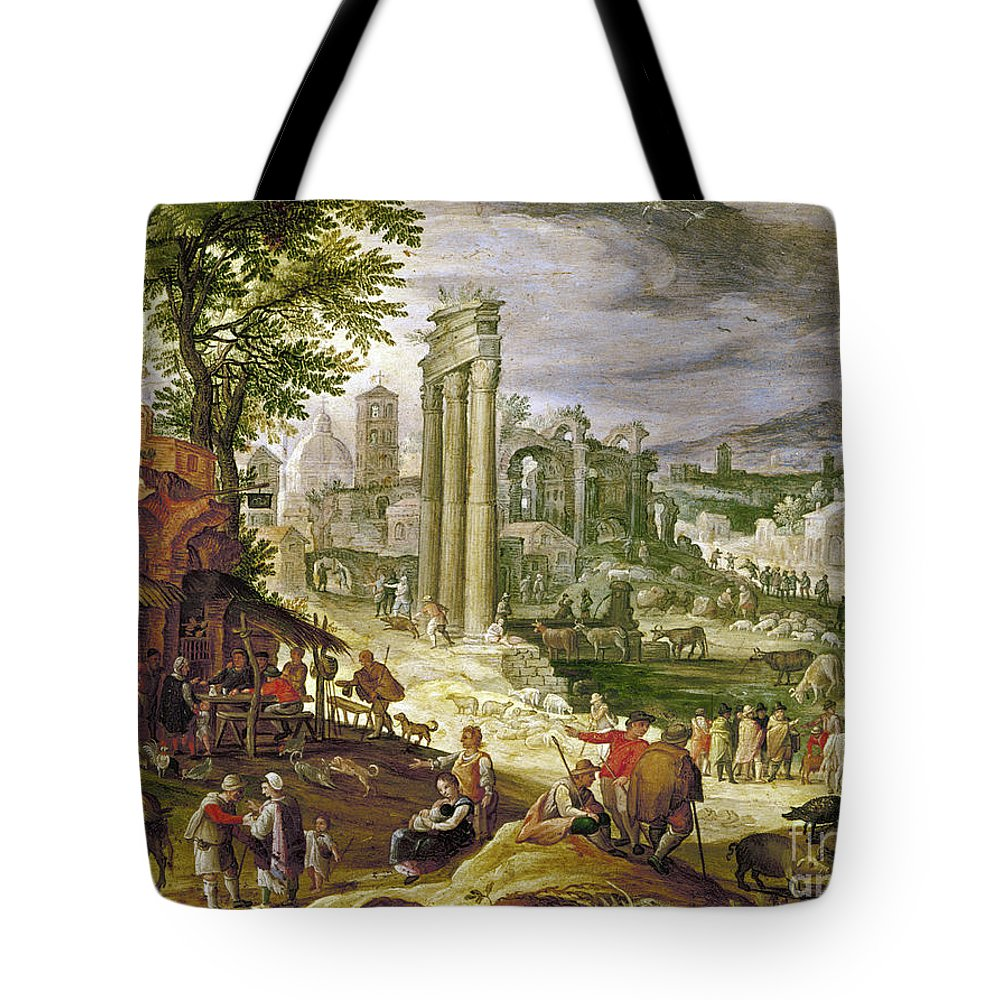 16th Century Tote Bag featuring the painting Roman Forum, 16th Century by Granger