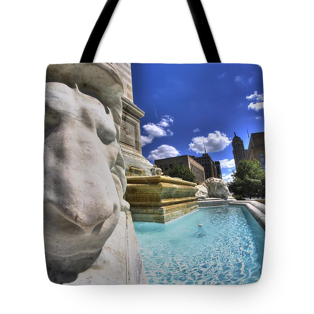 Buffalo Tote Bag featuring the photograph 04 Resting Lion At The Square by Michael Frank Jr