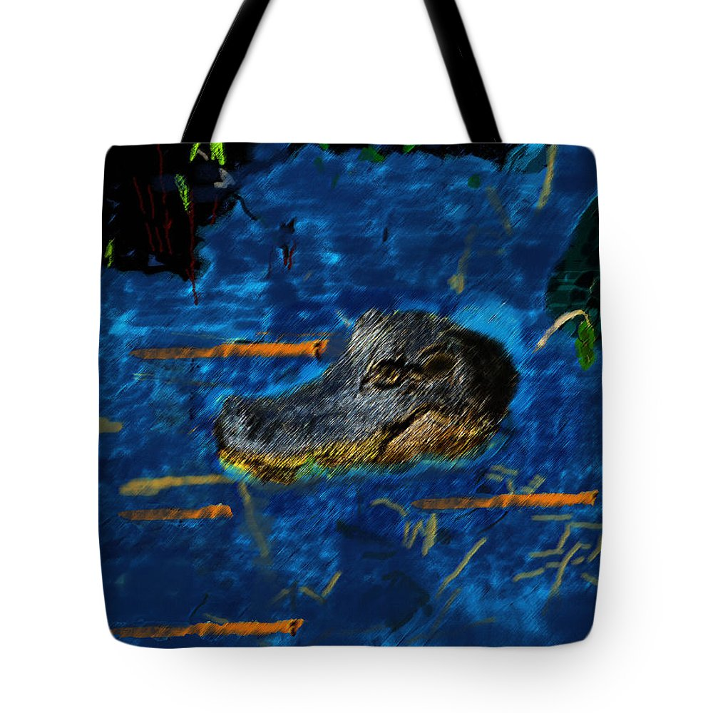 Gator Tote Bag featuring the painting 04142015 Gator Hole by Garland Oldham