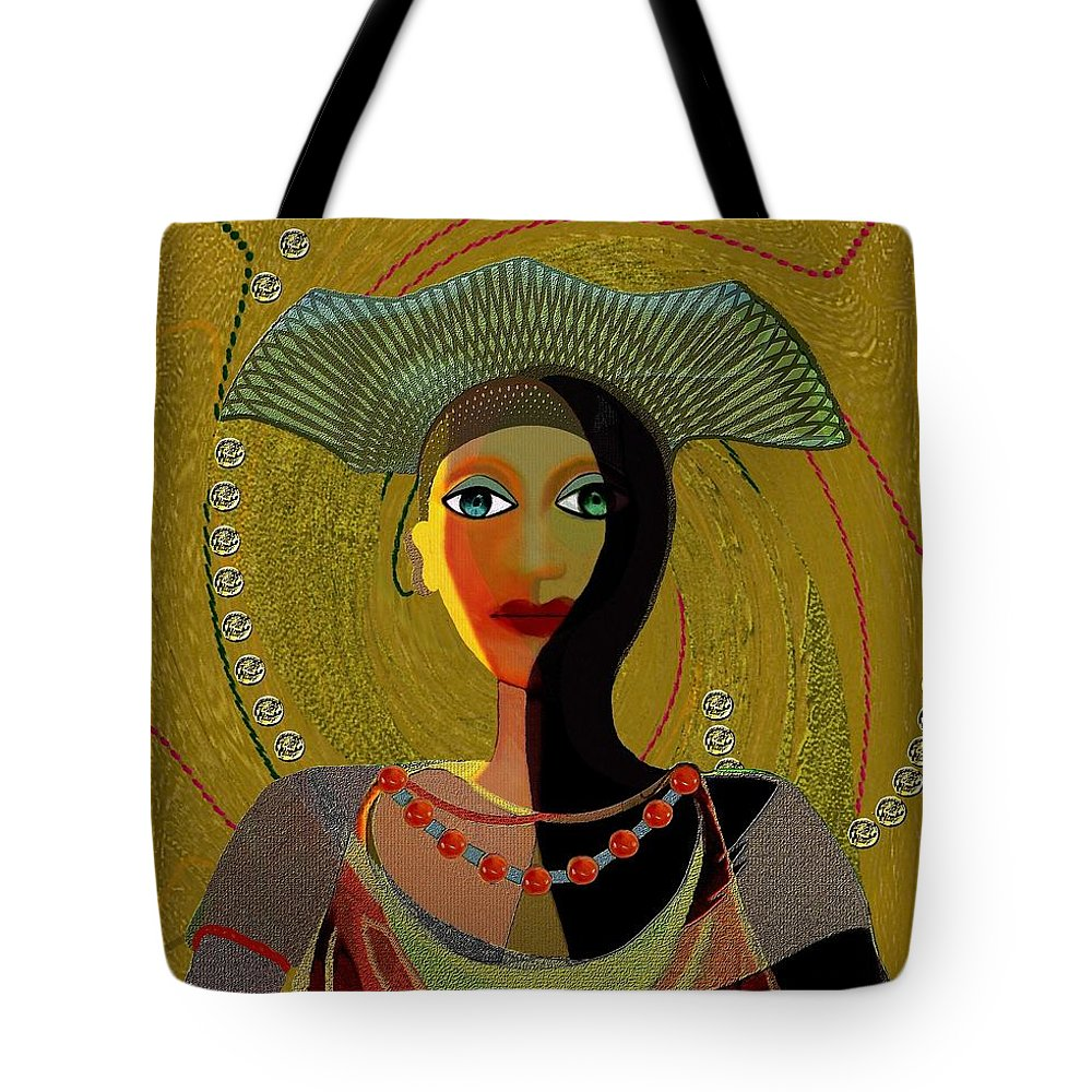 Lovely Tote Bag featuring the painting 052 -  Nana Golden by Irmgard Schoendorf Welch