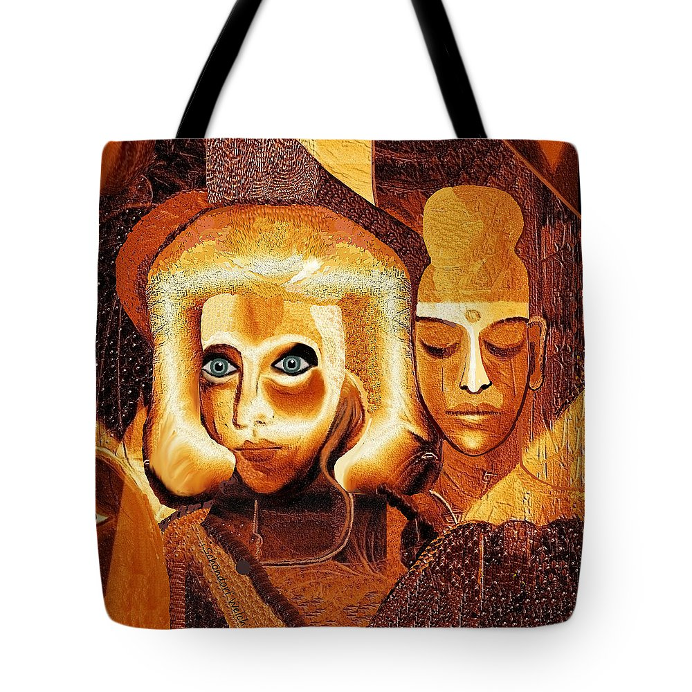 053 Golden People V Tote Bag featuring the painting 053 - Golden People V by Irmgard Schoendorf Welch