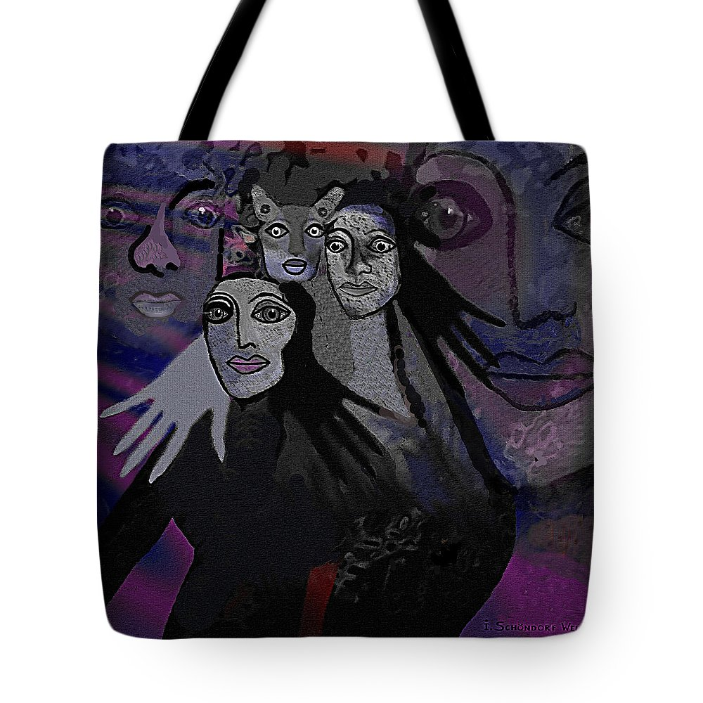 071 The People Of  Night A Tote Bag featuring the digital art 071  The People Of  Night A by Irmgard Schoendorf Welch
