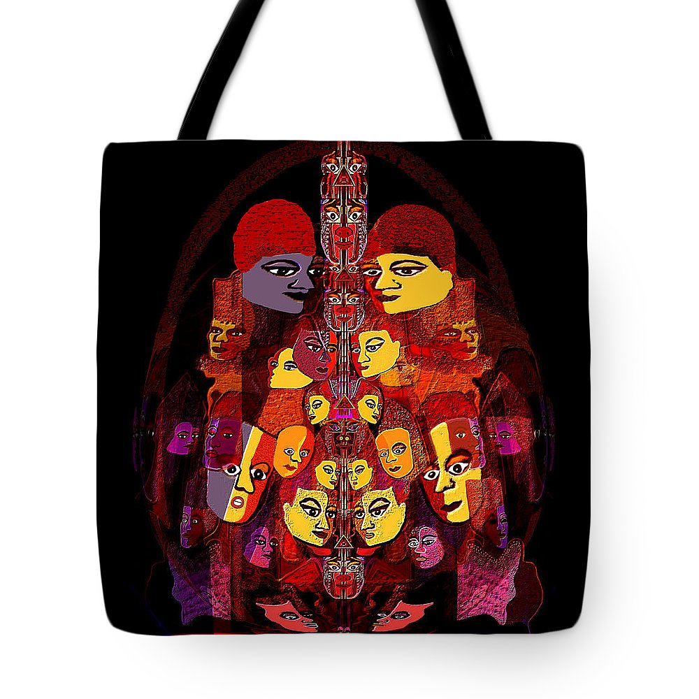 086 Masked People A Tote Bag featuring the painting 086 - Masked People A by Irmgard Schoendorf Welch