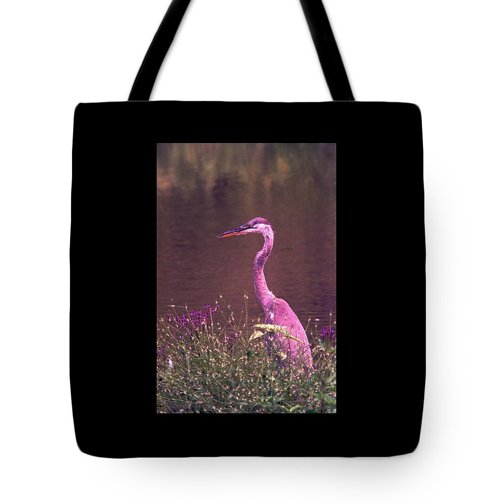 Great Blue Heron Tote Bag featuring the photograph 080706-12 by Mike Davis