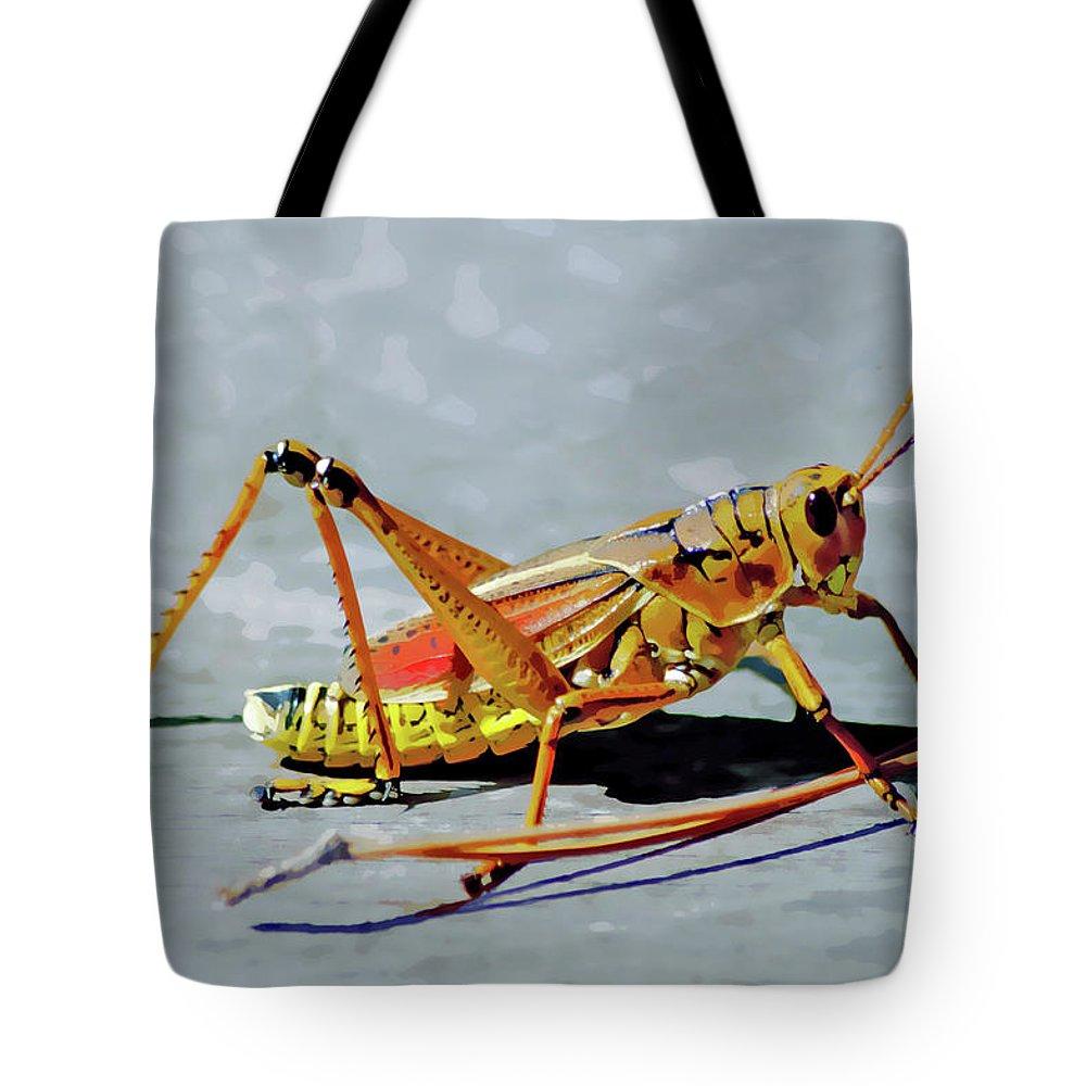 Lubber Grasshopper Tote Bag featuring the digital art 15- Lubber Grasshopper by Joseph Keane