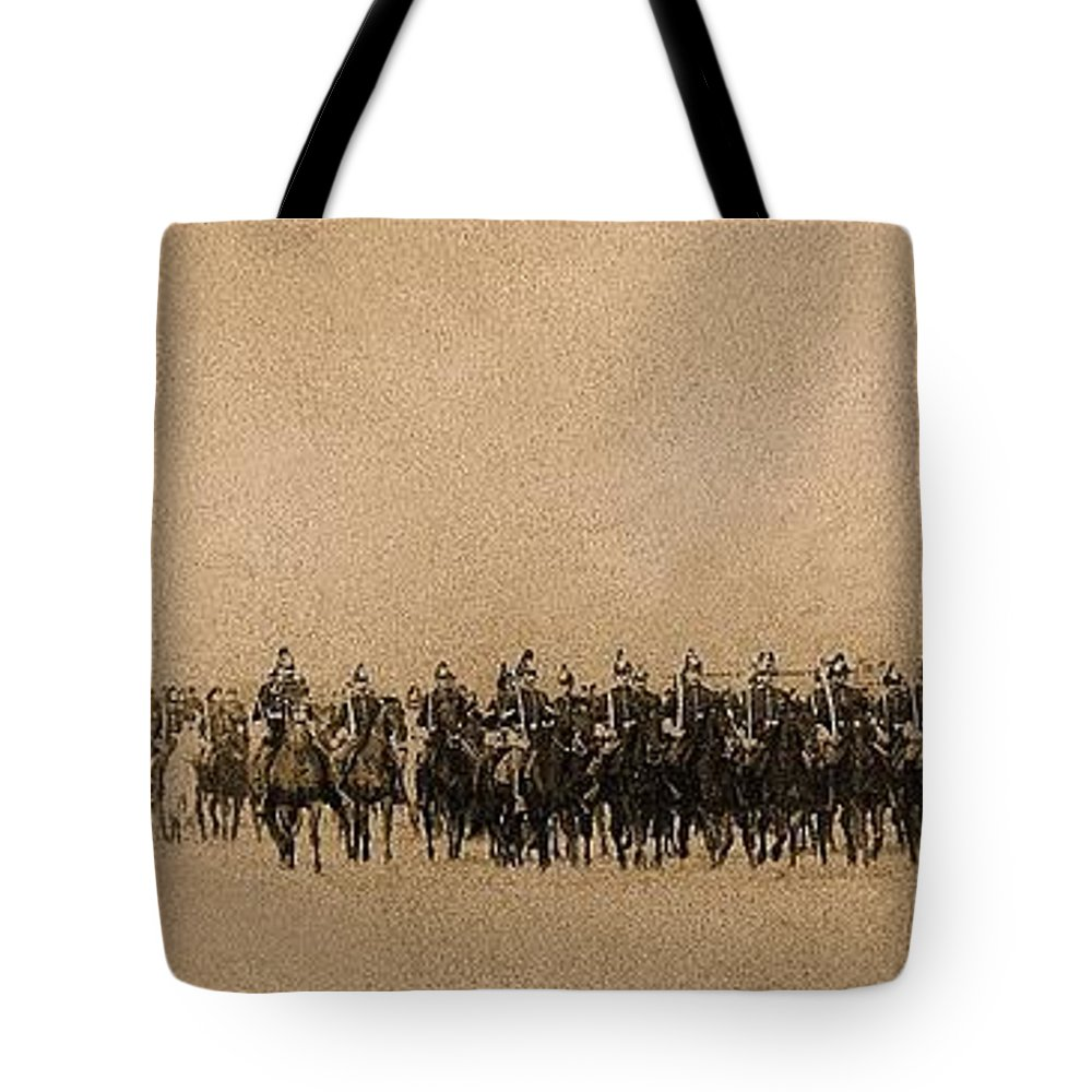 180 Degrees Panorama Troops Passing In Review No Date Or Locale Restored Color Added 2008 Tote Bag featuring the photograph 180 Degrees Panorama Troops Passing In Review No Date Or Locale Restored Color Added 2008 by David Lee Guss
