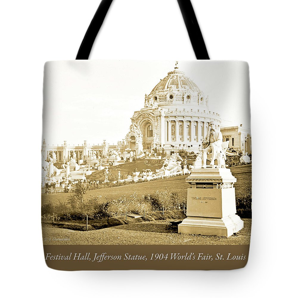 Sepia Tone Tote Bag featuring the photograph 1904 Worlds Fair, Festival Hall, Jefferson Statue by A Gurmankin