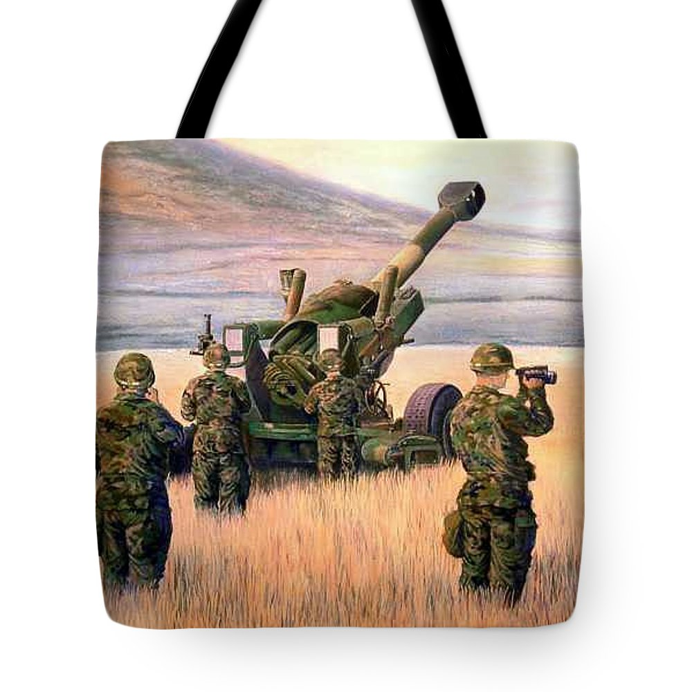 Signed And Numbered Prints Of The Montana National Guard Tote Bag featuring the print 1-190th Artillery by Scott Robertson
