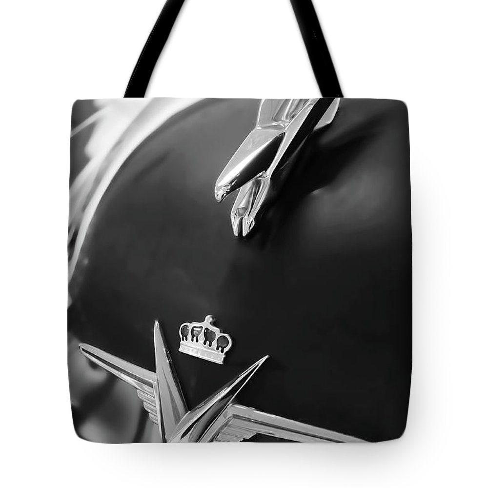 1954 Chrysler Imperial Sedan Tote Bag featuring the photograph 1954 Chrysler Imperial Sedan Hood Ornament 3 by Jill Reger