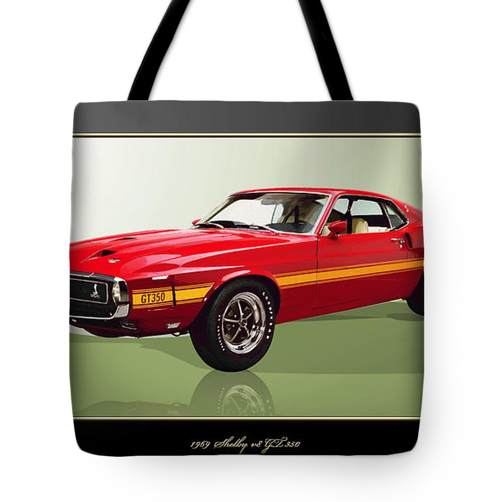 Wheels Of Fortune By Serge Averbukh Tote Bag featuring the photograph 1969 Shelby V8 Gt350 by Serge Averbukh