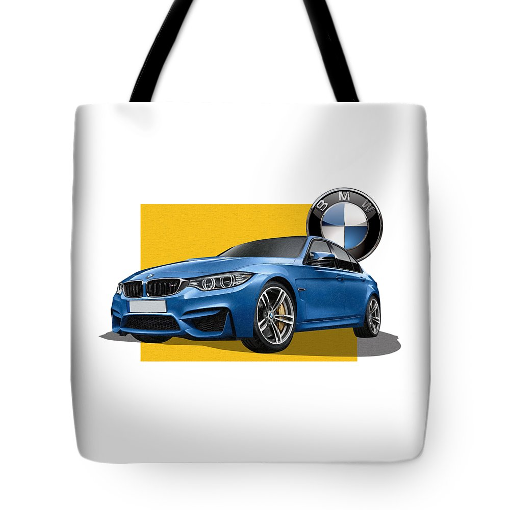 �bmw� Collection By Serge Averbukh Tote Bag featuring the photograph 2016 B M W M 3 Sedan with 3 D Badge by Serge Averbukh