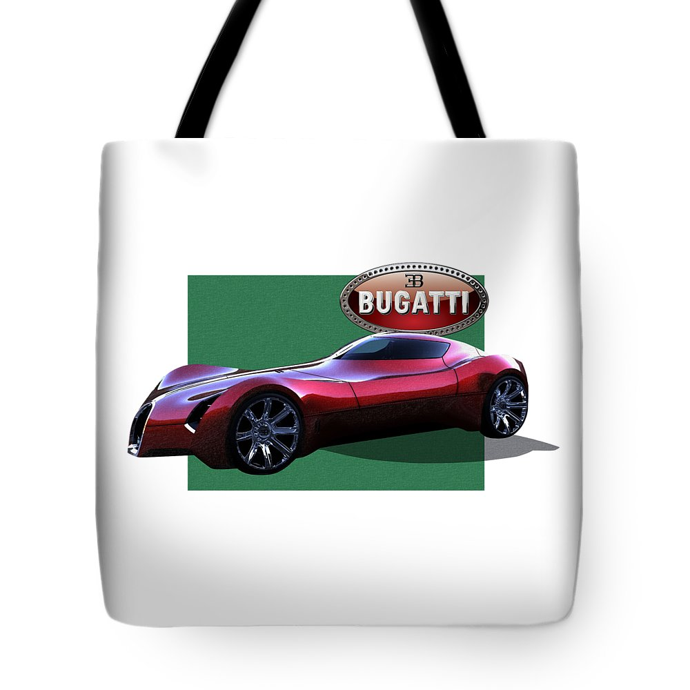 �bugatti� By Serge Averbukh Tote Bag featuring the photograph 2025 Bugatti Aerolithe Concept with 3 D Badge by Serge Averbukh