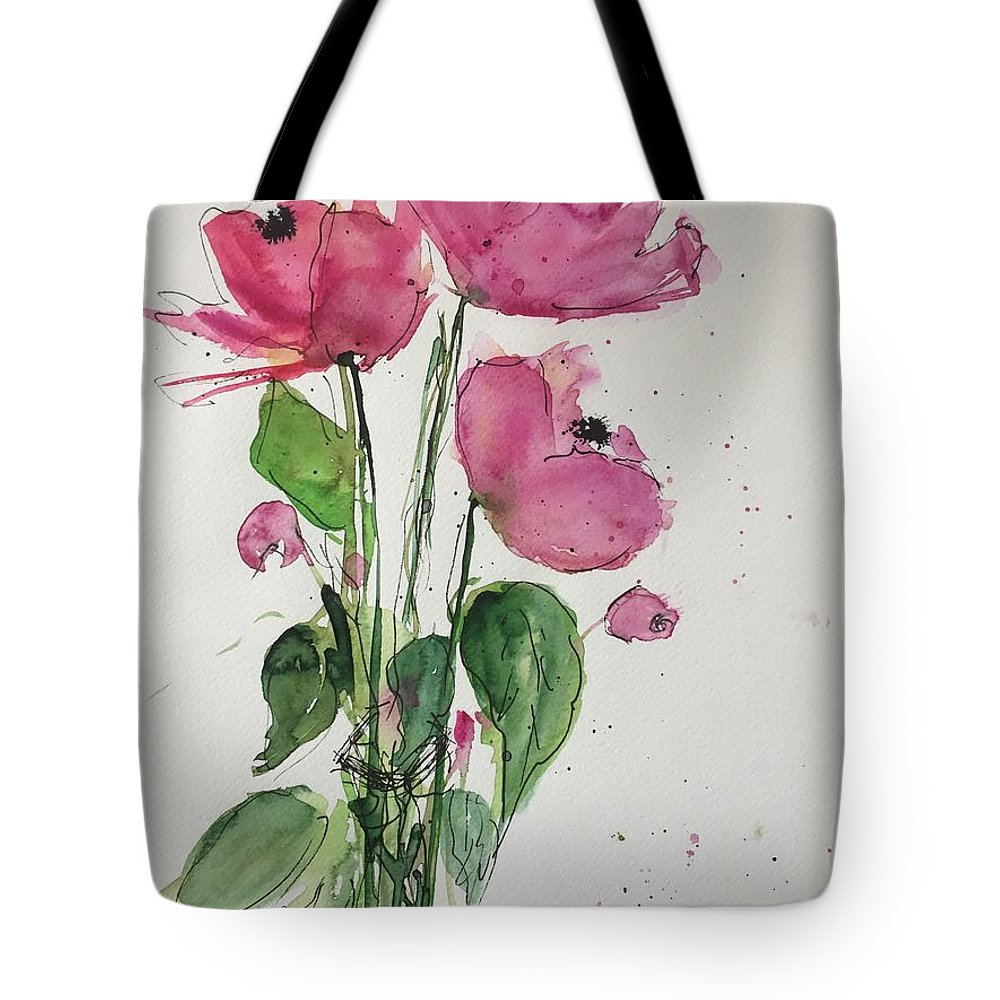 Three Tote Bag featuring the painting 3 Pink Flowers by Britta Zehm