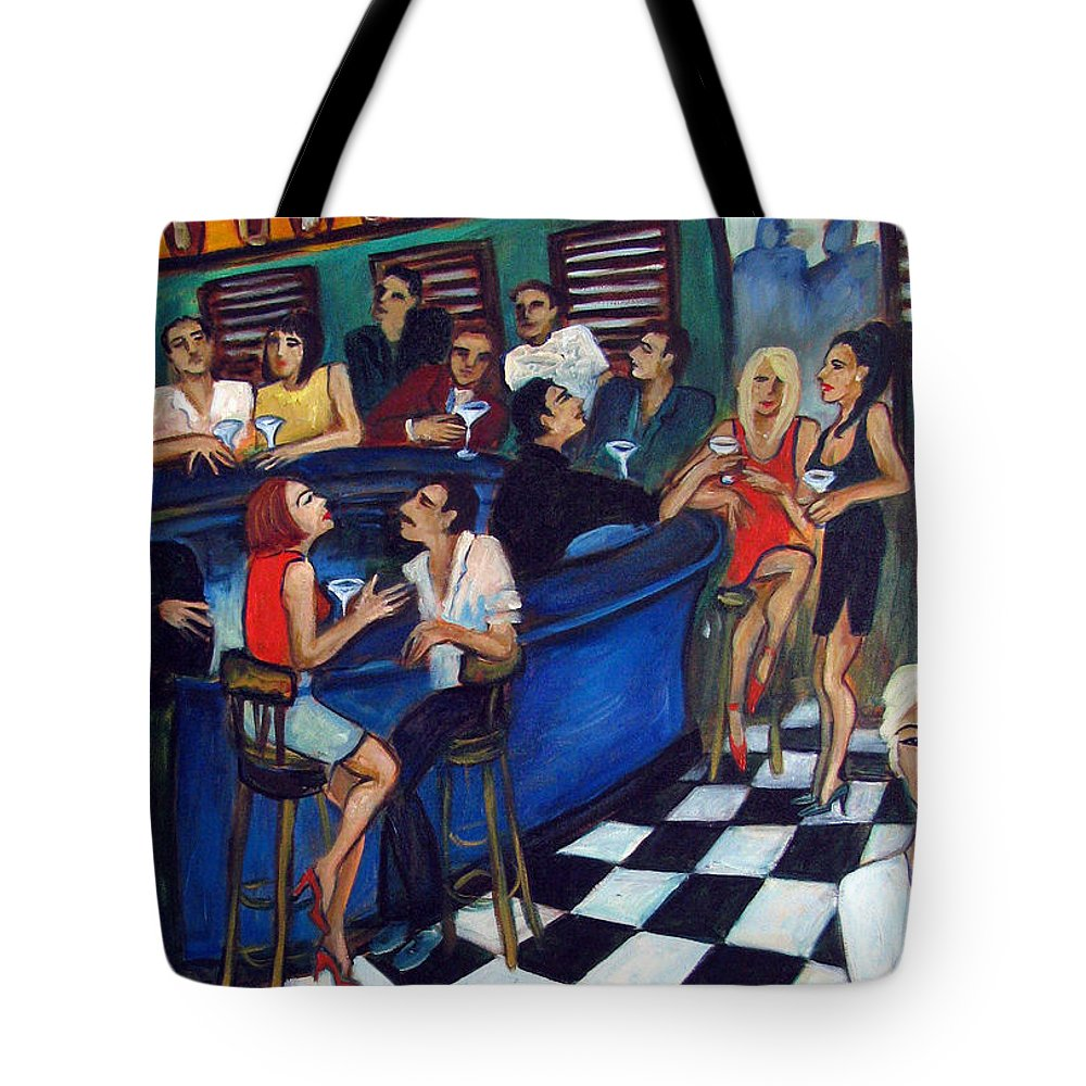 Chicago Style Bar Tote Bag featuring the painting 32 East by Valerie Vescovi