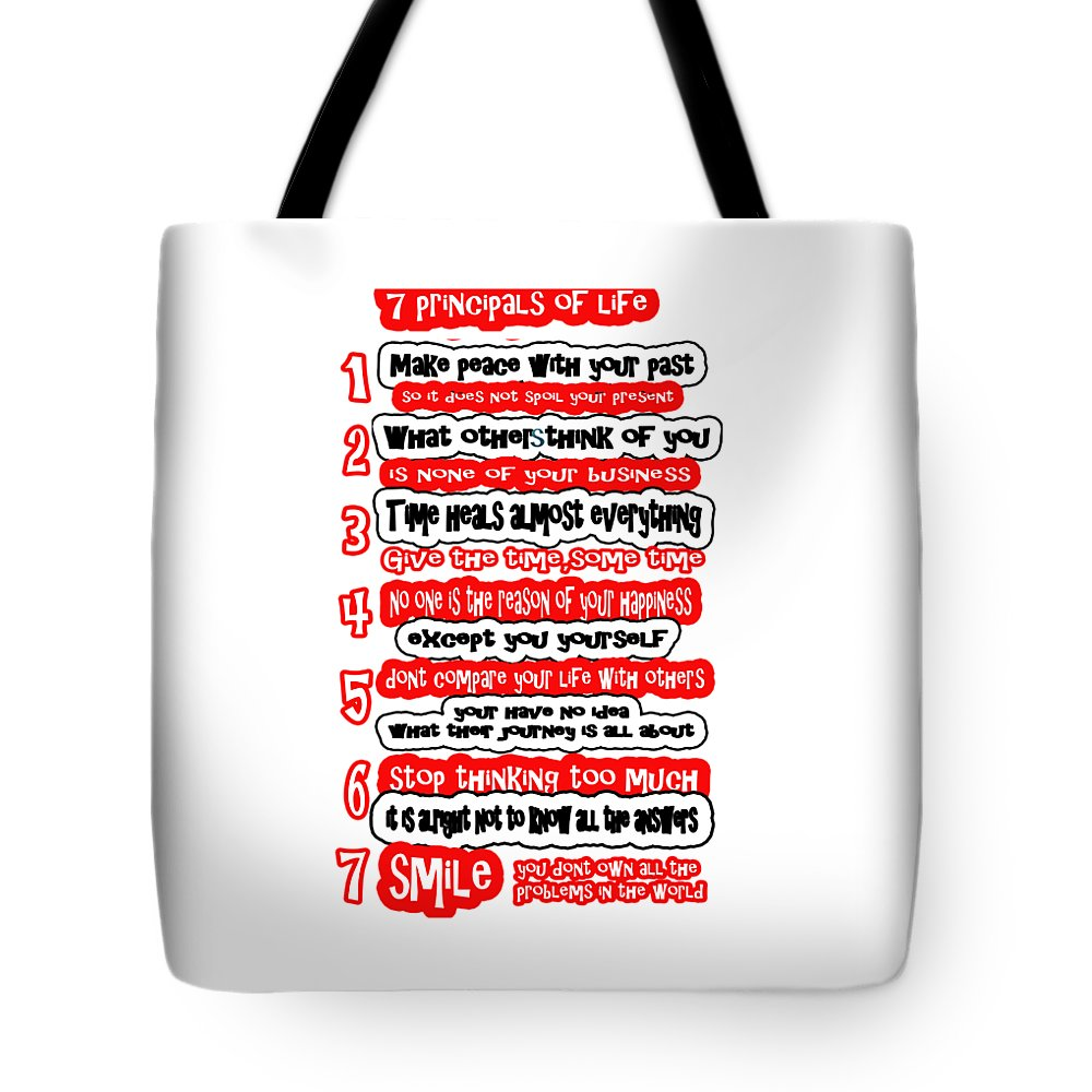 Principals Tote Bag featuring the painting 7 Principals Of For Happy Life See On Pillows Curtains Duvet Covers Tote Bags Phone Cases Posters Ca by Navin Joshi