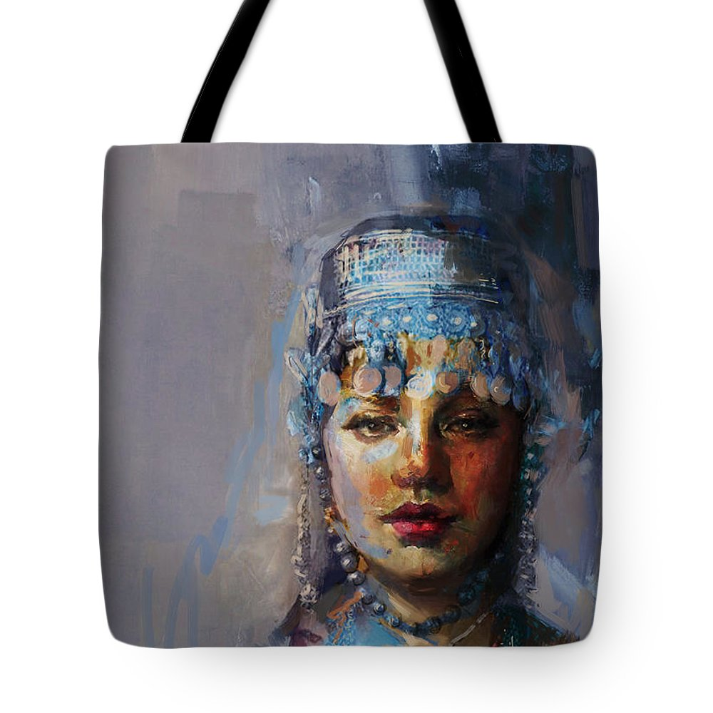 Sindh Tote Bag featuring the painting 9 Pakistan Folk Khyber Pakhtunkhwac by Mahnoor Shah