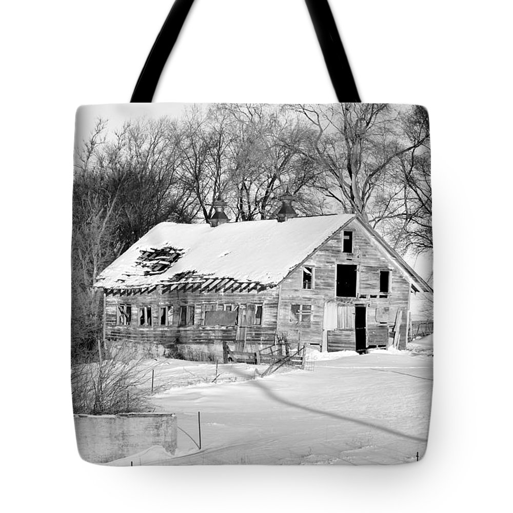 Fence Tote Bag featuring the photograph A Hard Life Winter 2 by Bonfire Photography