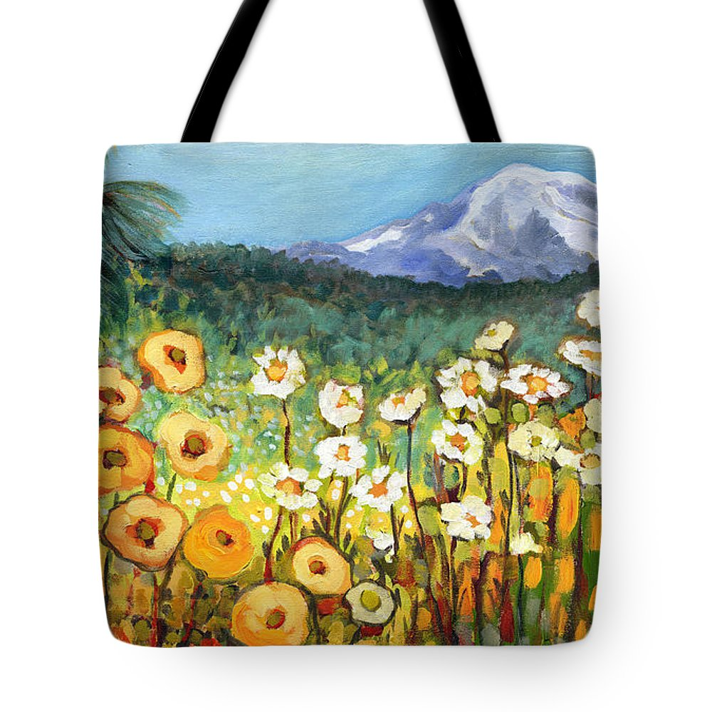 Rainier Tote Bag featuring the painting A Mountain View by Jennifer Lommers