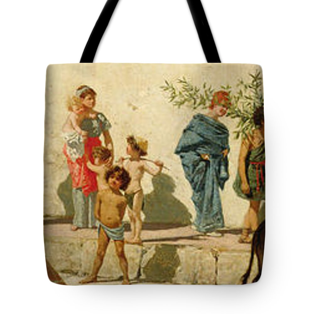 A Roman Street Scene With Musicians And A Performing Monkey Tote Bag ...