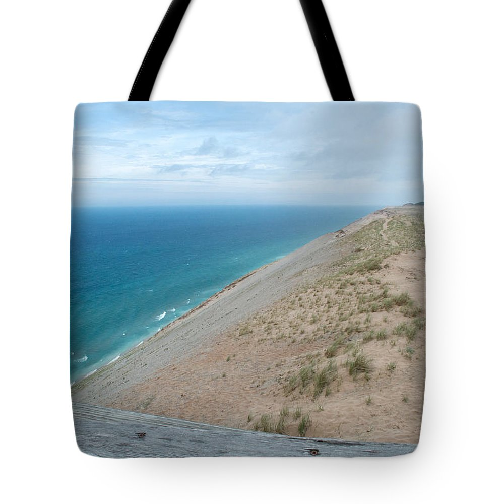 Sleeping Bear Dunes Tote Bag featuring the photograph Above The Lake by Linda Kerkau