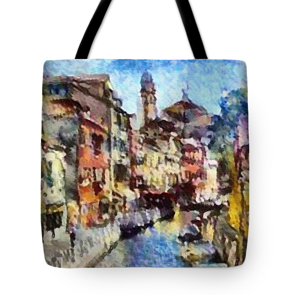 Abstract Tote Bag featuring the digital art Abstract Canal Scene In Venice L A S by Gert J Rheeders