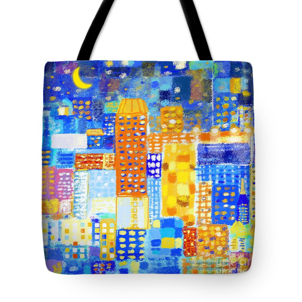 Abstract Tote Bag featuring the painting Abstract City by Setsiri Silapasuwanchai