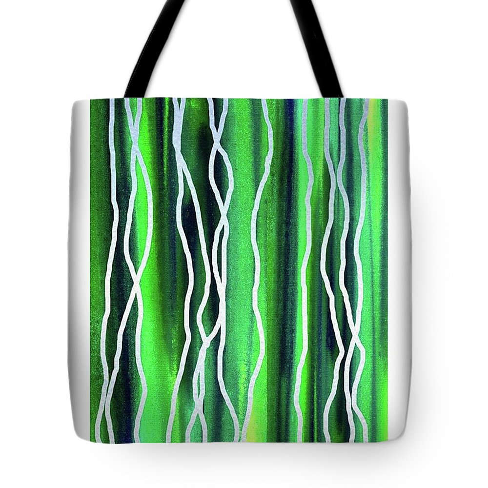 Abstract Line Tote Bag featuring the painting Abstract Lines On Green by Irina Sztukowski
