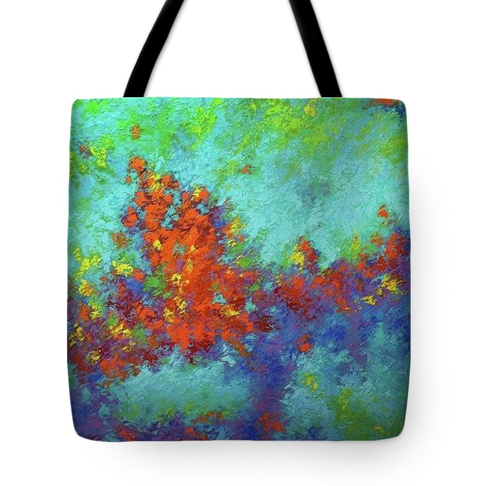 Abstract Tote Bag featuring the digital art Abstract Pallet Oil Color by Nikos Zarras