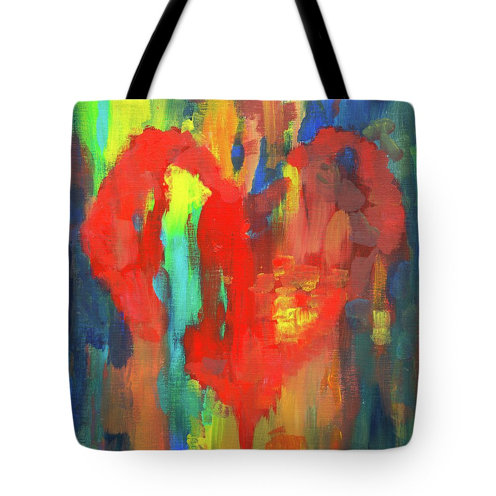 Painting Tote Bag featuring the painting Abstract Red Heart Acrylic Painting by Karen Kaspar