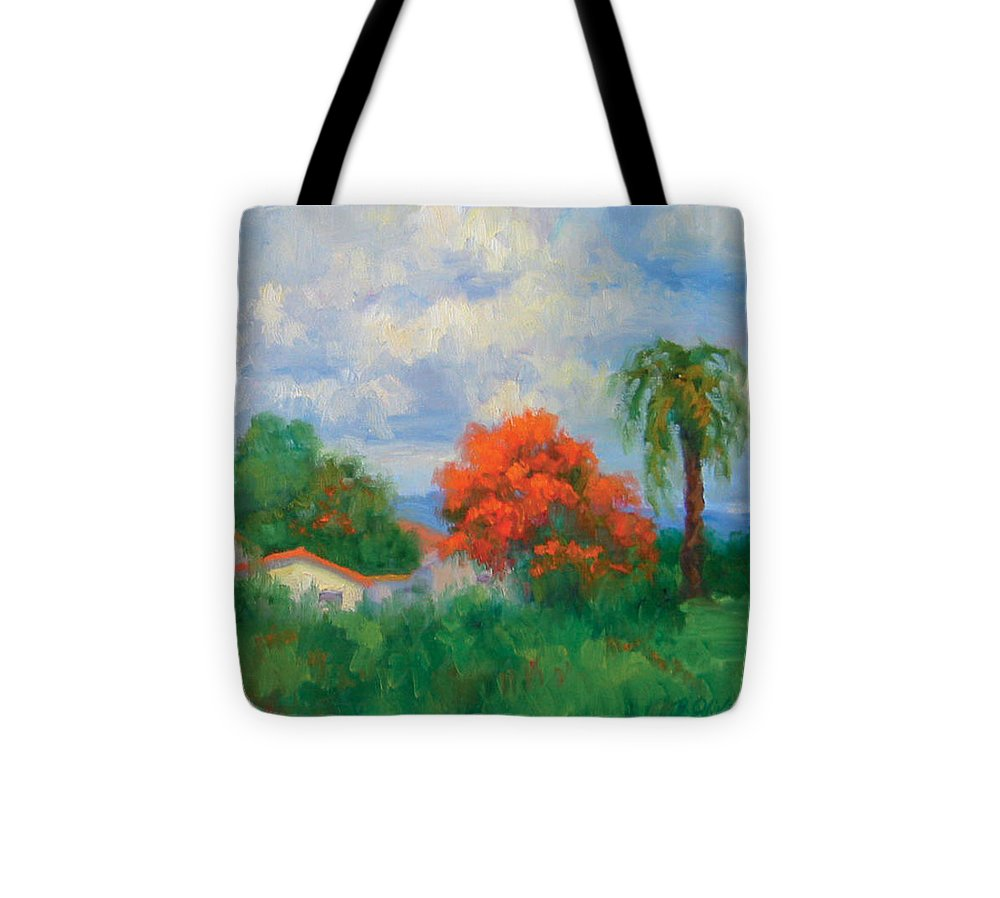 Honduras Tote Bag featuring the painting Acacias And Red Roofs by Bunny Oliver