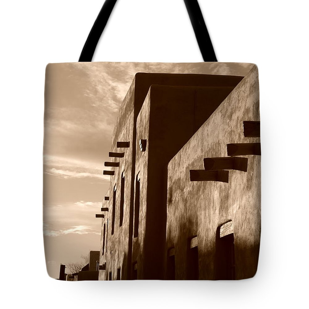 Architecture Tote Bag featuring the photograph Adobe Sunset by Rob Hans