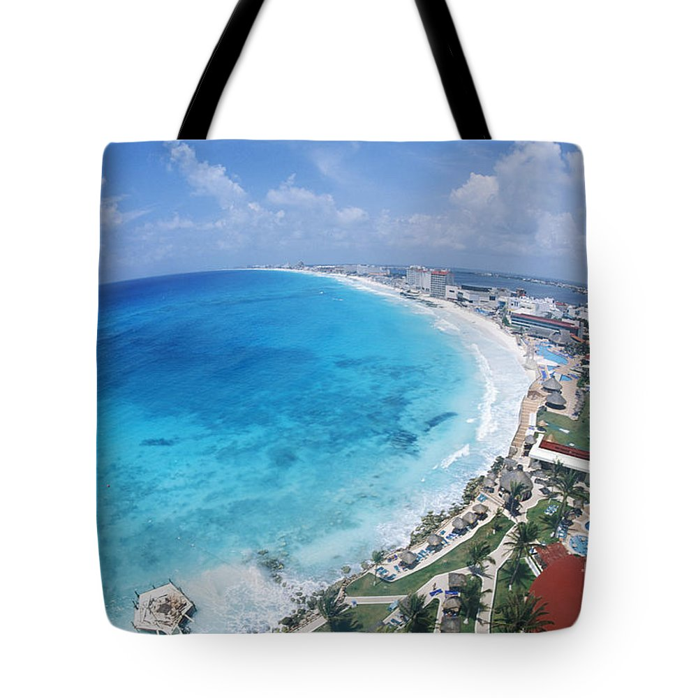 Aerial Tote Bag featuring the photograph Aerial Of Cancun by Bill Bachmann - Printscapes
