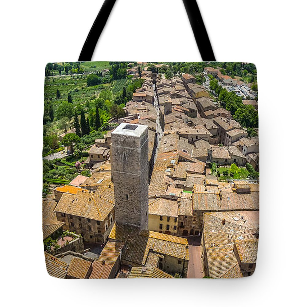 Ancient Tote Bag featuring the photograph Aerial Wide-angle View Of The Historic Town Of San Gimignano Wit by JR Photography