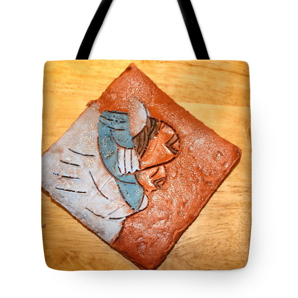 Jesus Tote Bag featuring the ceramic art Akaweese - Tile by Gloria Ssali