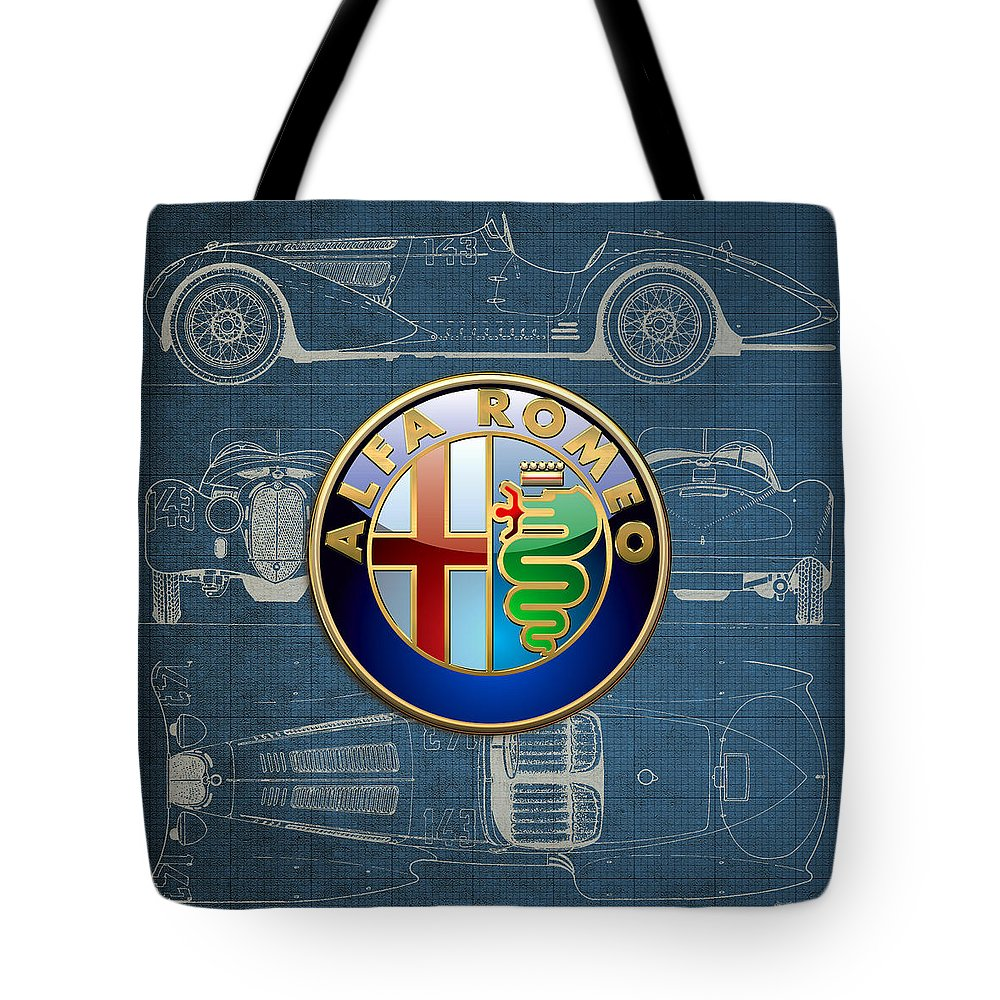 �wheels Of Fortune� By Serge Averbukh Tote Bag featuring the photograph Alfa Romeo 3 D Badge Over 1938 Alfa Romeo 8 C 2900 B Vintage Blueprint 1 by Serge Averbukh