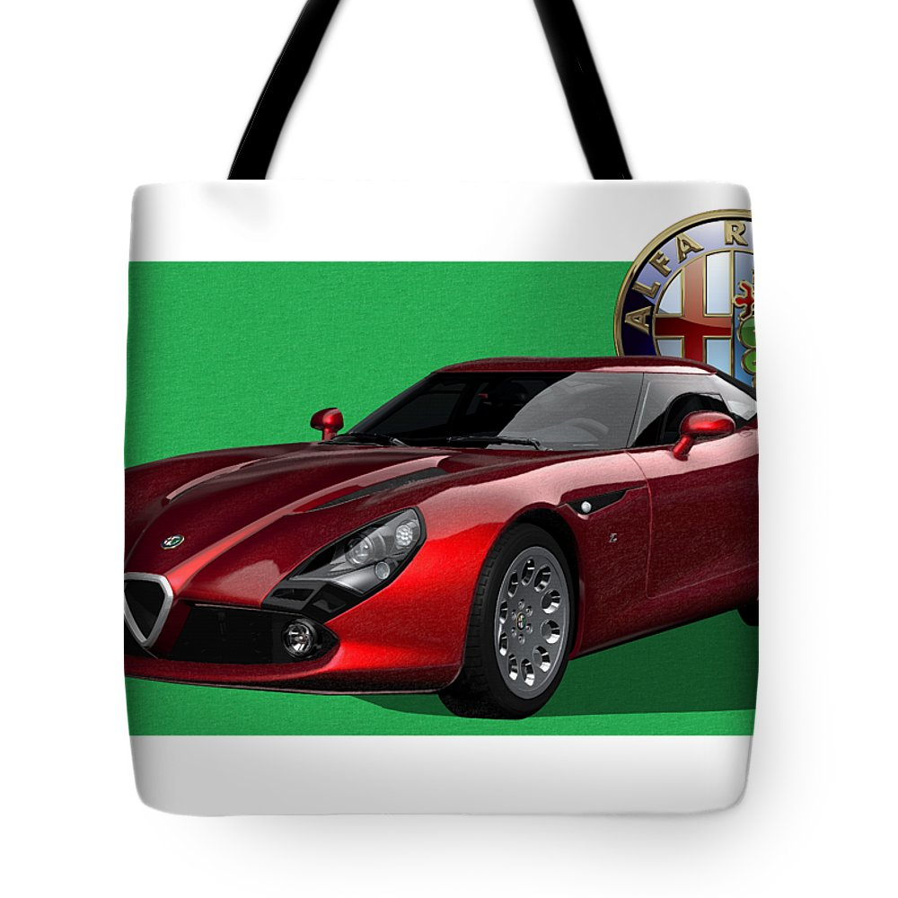 �alfa Romeo� By Serge Averbukh Tote Bag featuring the photograph Alfa Romeo Zagato T Z 3 Stradale With 3 D Badge by Serge Averbukh