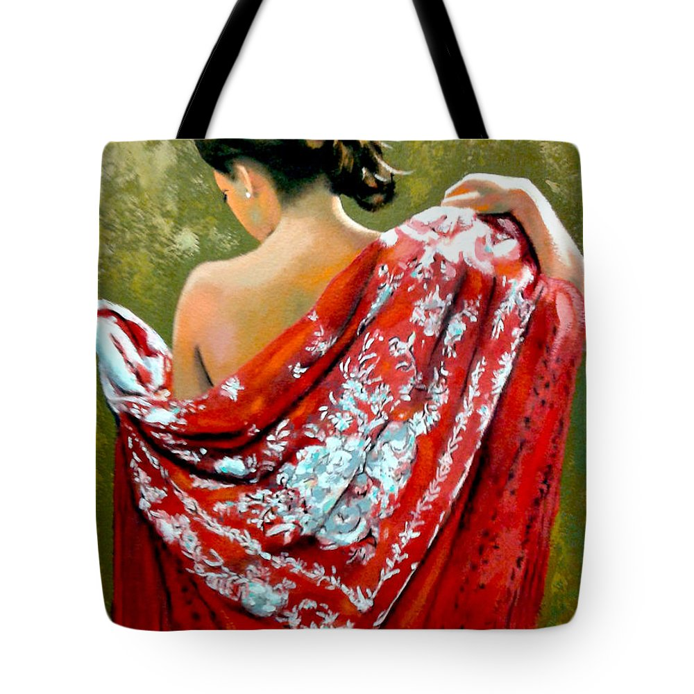 Red Tote Bag featuring the painting aly by Jose Manuel Abraham