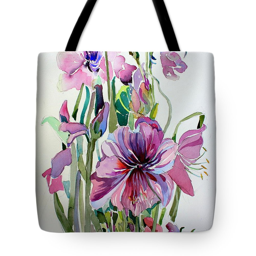Amaryllis Tote Bag featuring the painting Amaryliss by Mindy Newman