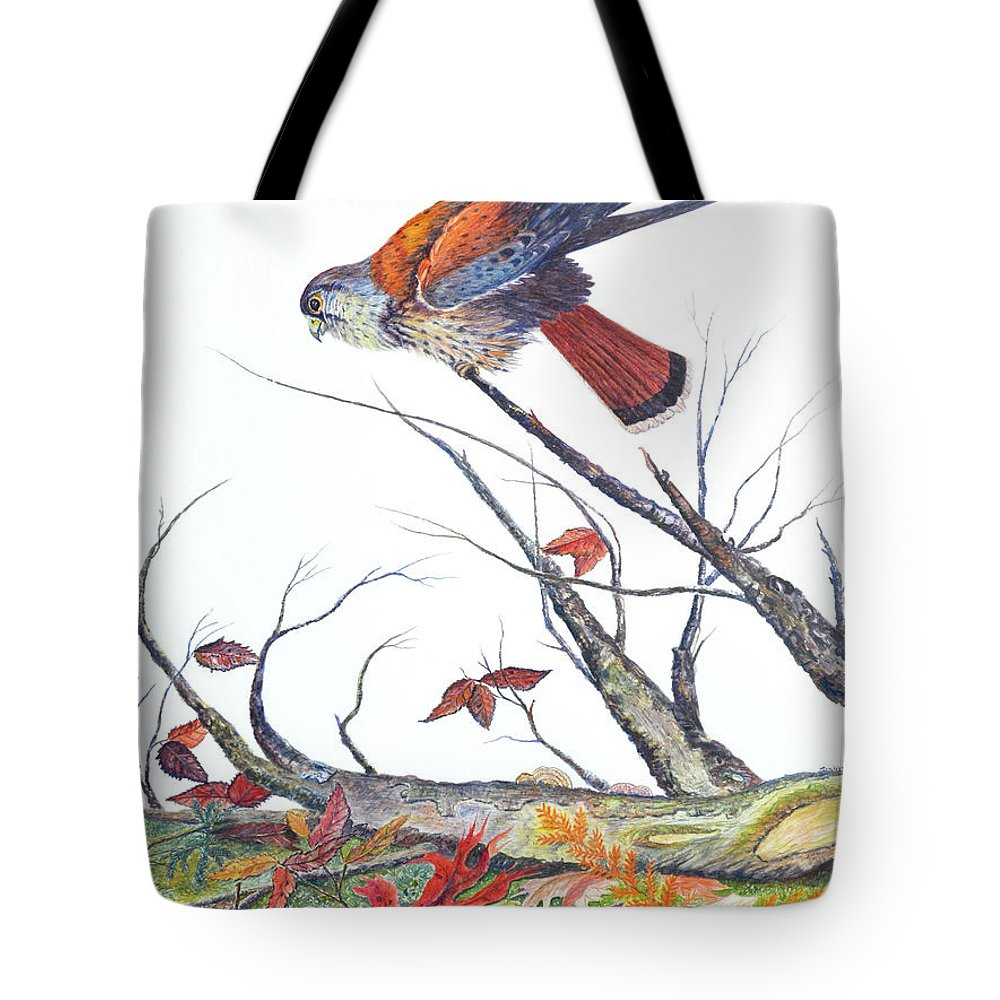 Bird Tote Bag featuring the painting American Kestrel by Ben Kiger