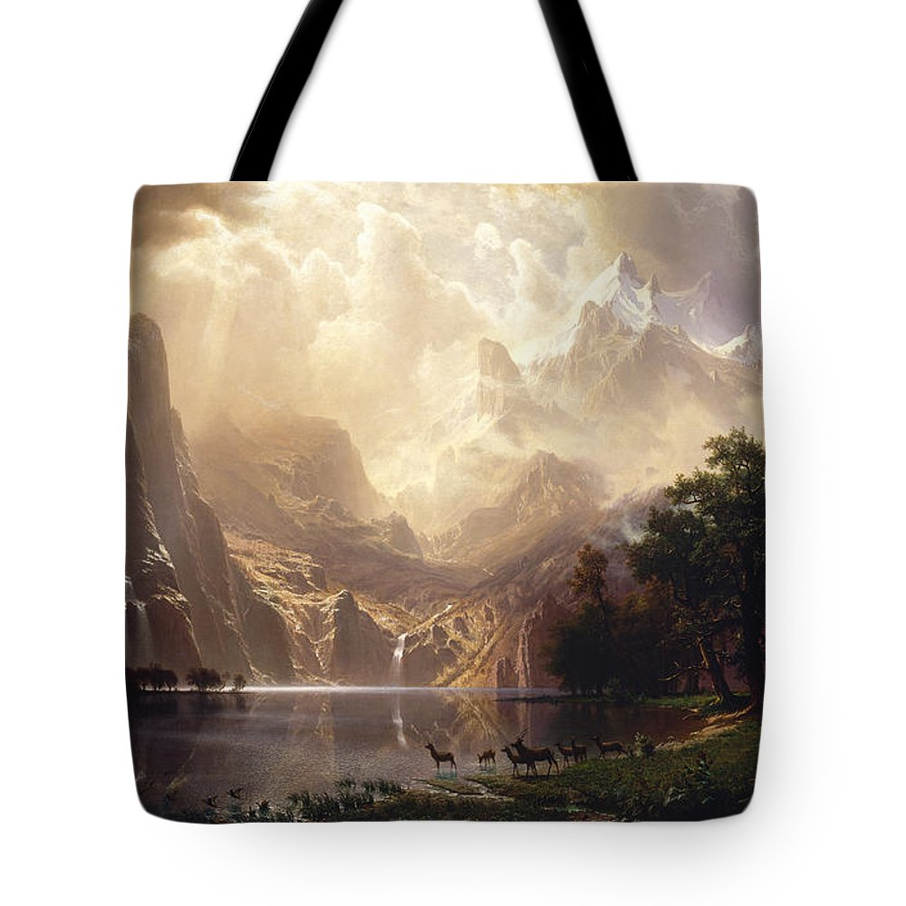 Albert Bierstadt Tote Bag featuring the painting Among The Sierra Nevada, California by Celestial Images
