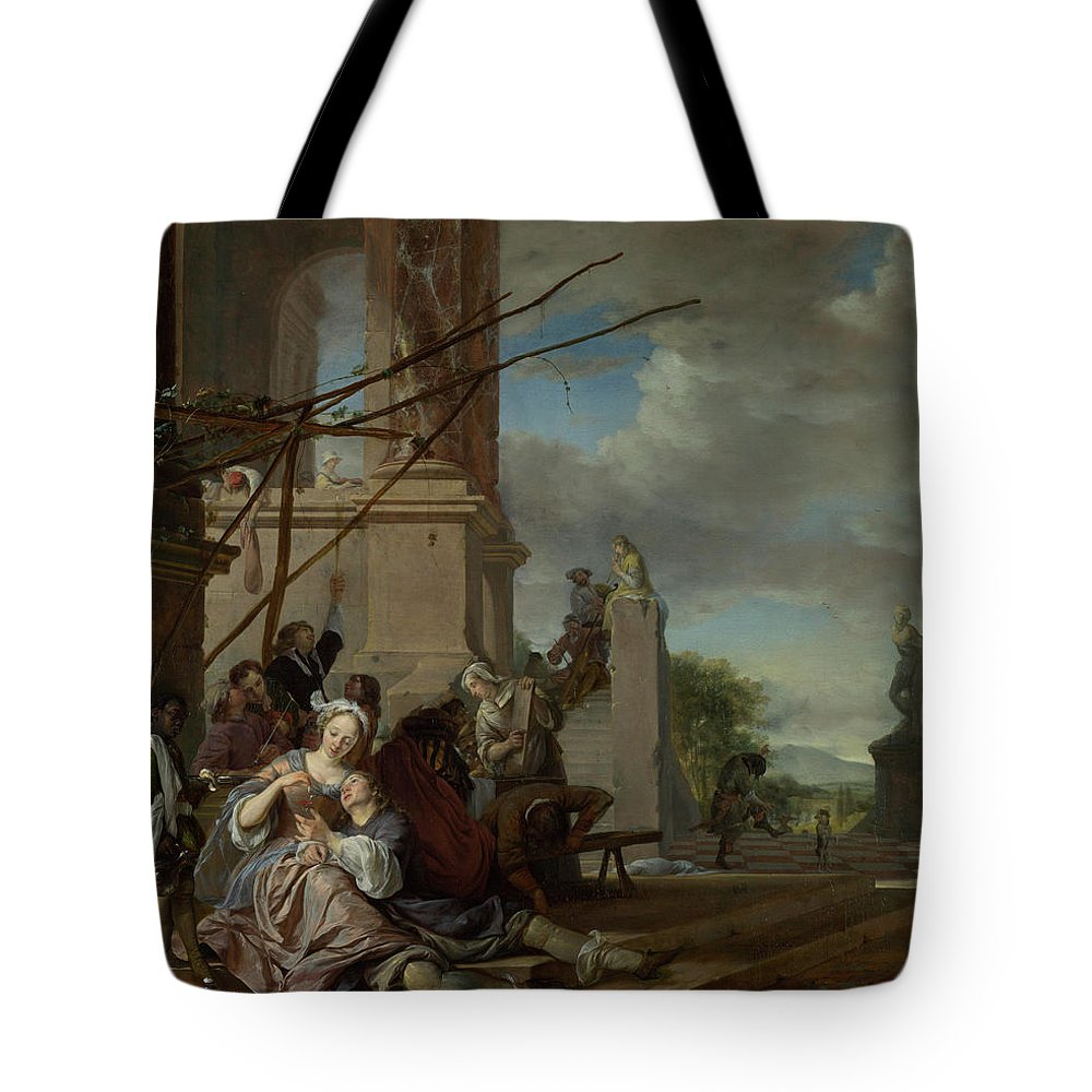 Beverages Tote Bag featuring the painting An Italian Courtyard by Jan Weenix