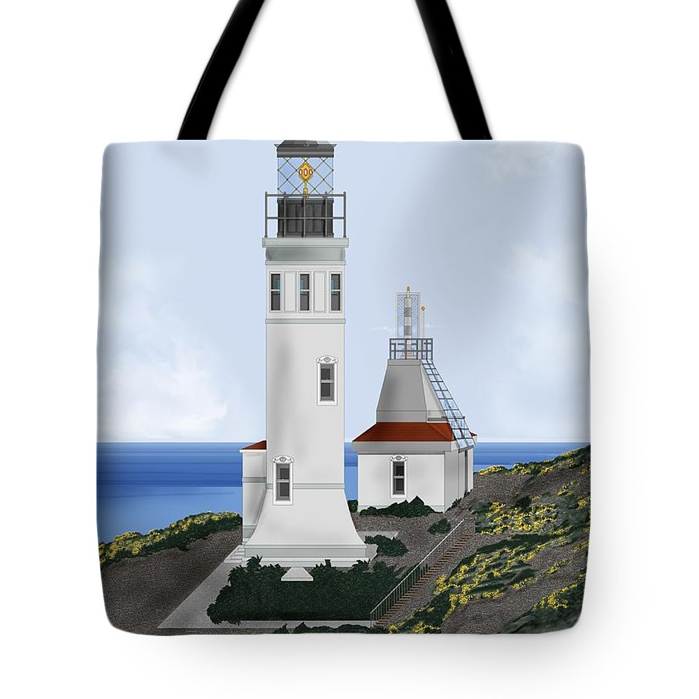 Lighthouse Tote Bag featuring the painting Anacapa Lighthouse California by Anne Norskog