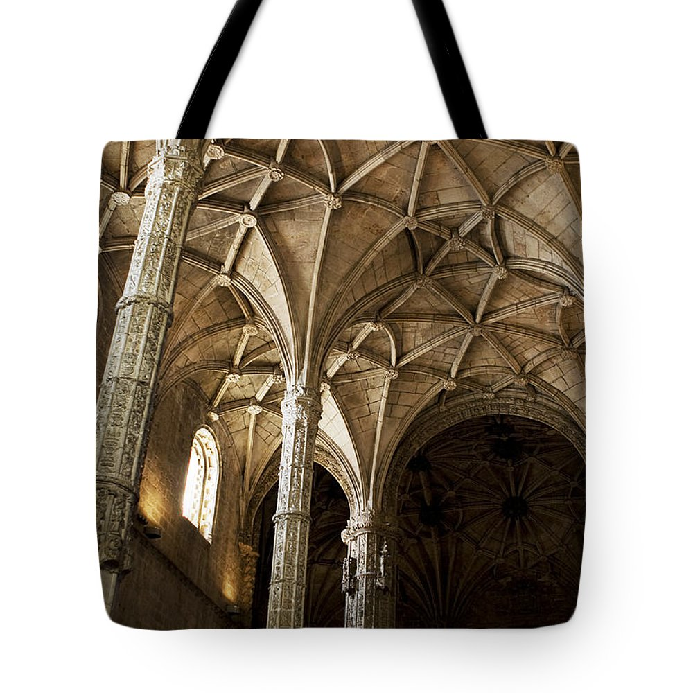 Lisbon Tote Bag featuring the photograph Lisbon Cathedral's Ancient Arches by Lorraine Devon Wilke